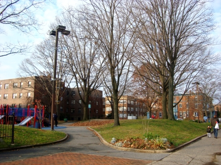 Barkan Park sits at the West end of the Spruce Street corridor.