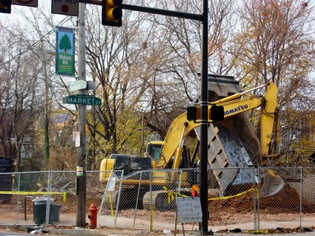 Recently, blighted row homes along Farragut Street were demolished, leaving the SEPTA station alone on the intersection.